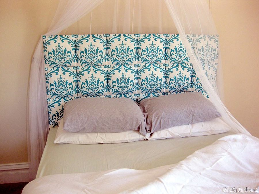 Turquoise DIY tufted headboard is perfect for the classic bedroom