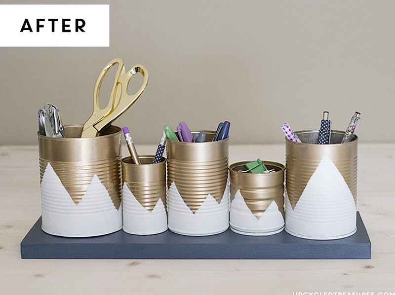 Upcycled tin can organizer for the smart desk