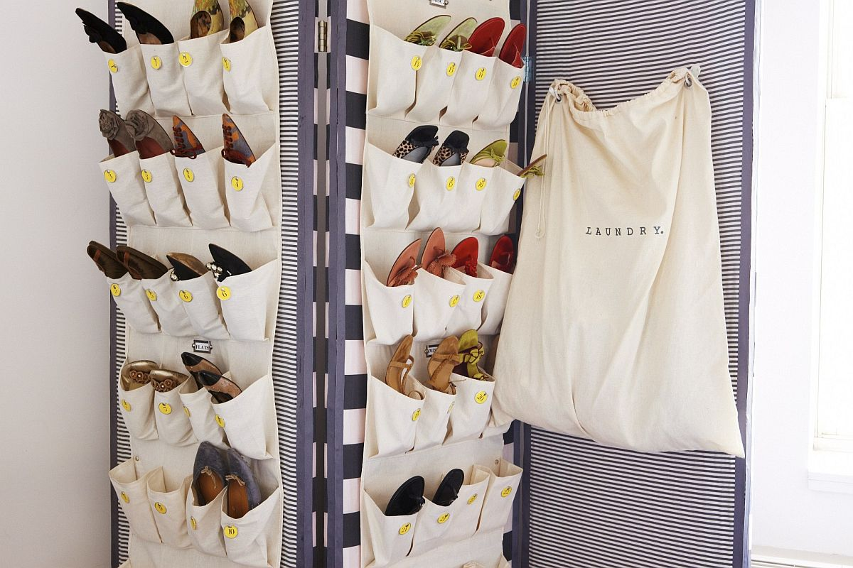 Using bags and storage sacks to create a folding screen shoe storage unit