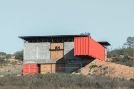 Wine House in Rugged Mexican Outback Where Metal Meets Concrete