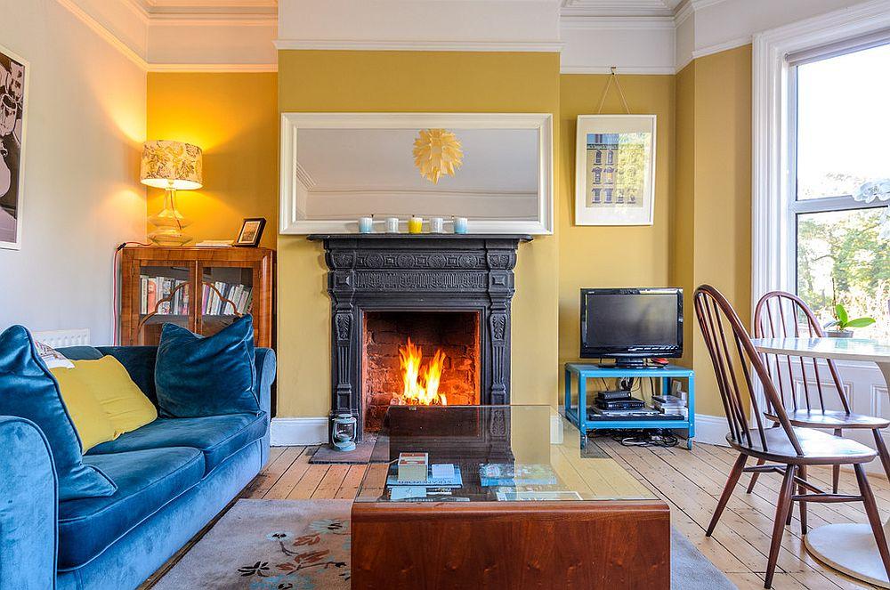 Velvet blue sofa for the living room in white and yellow