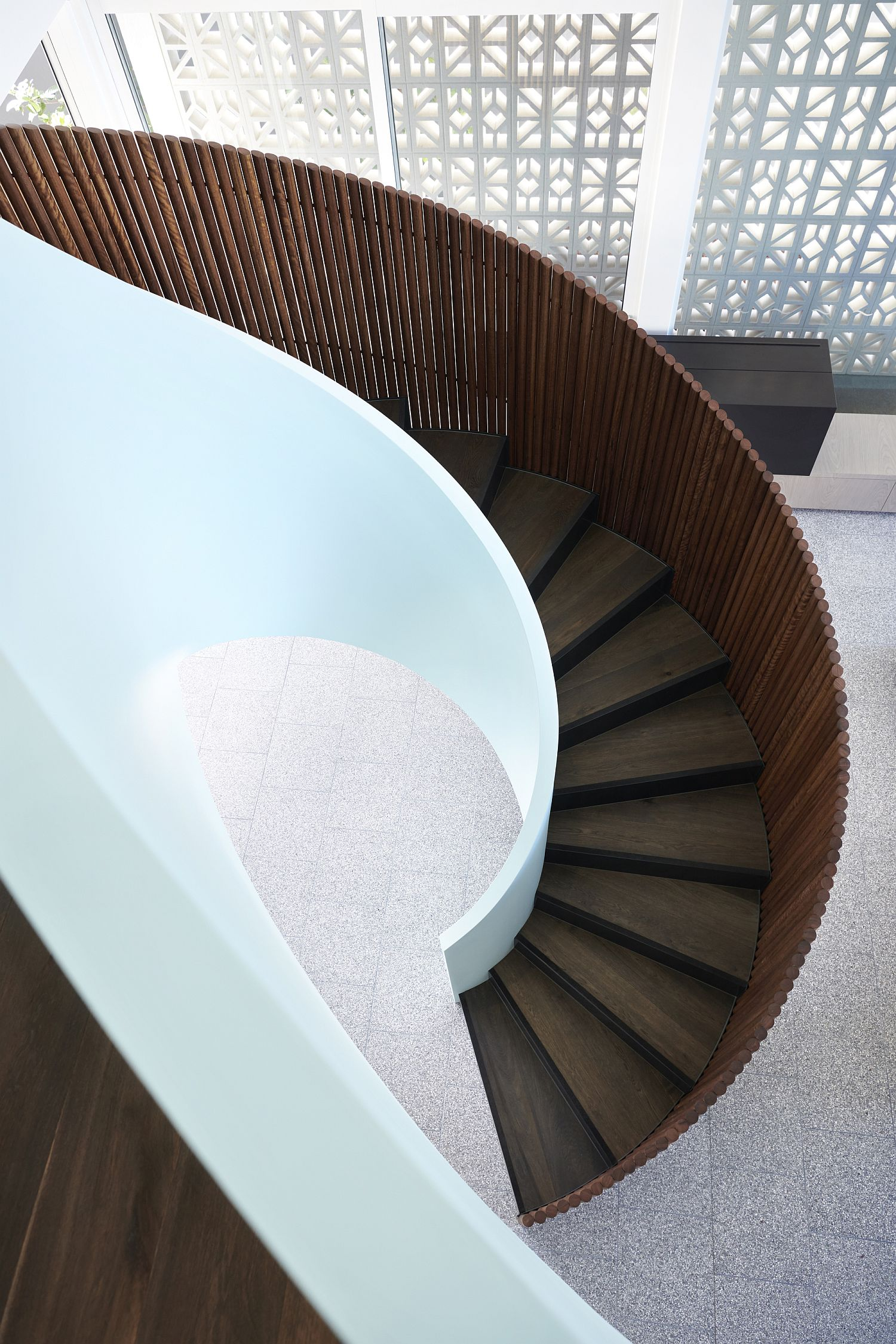 View-from-above-of-the-woodsy-spiral-staircase