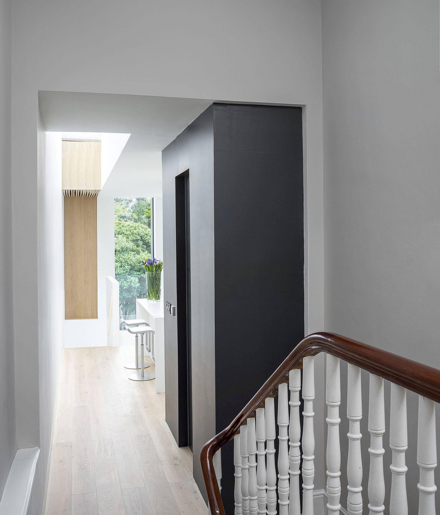 Well-lit corridor of the modern Victorian home in Dublin