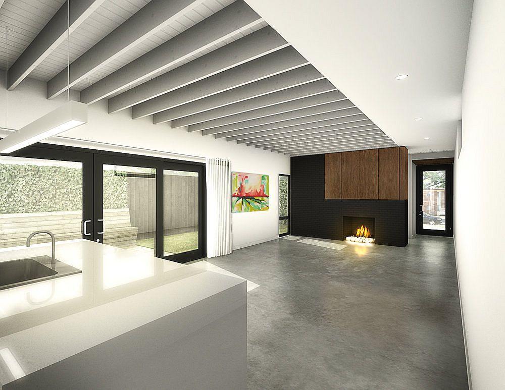 White minimal interior of the Allison&Graham Houses in Memphis