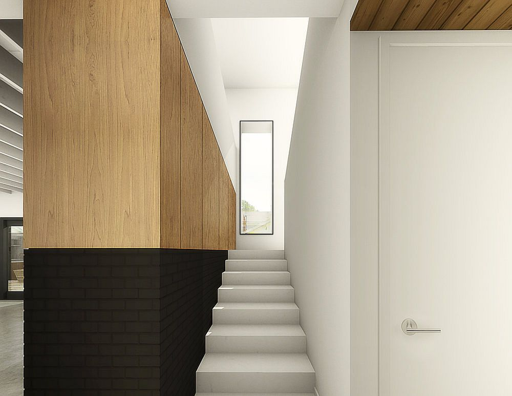 Wood and white along with dark base of the house interact beautifully