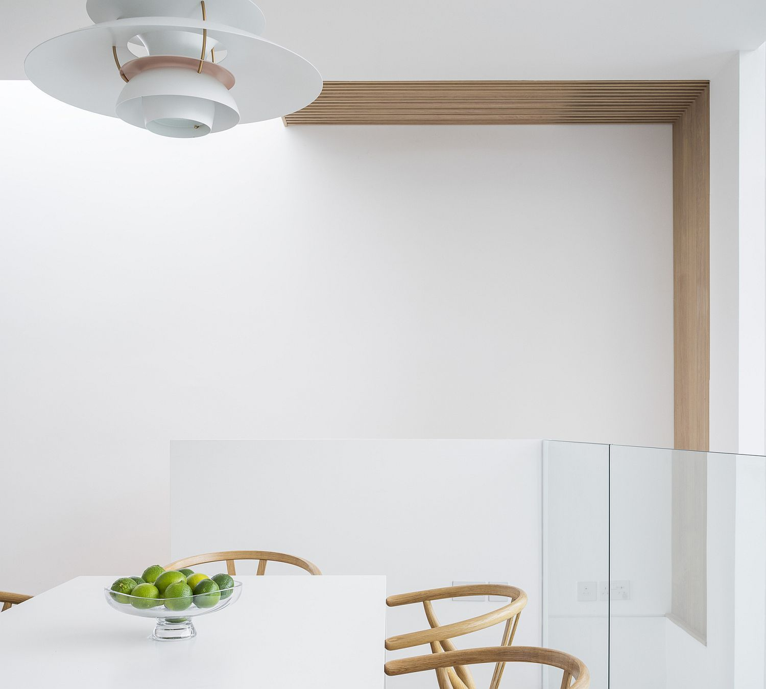 Wood and white dining room of the Dublin home