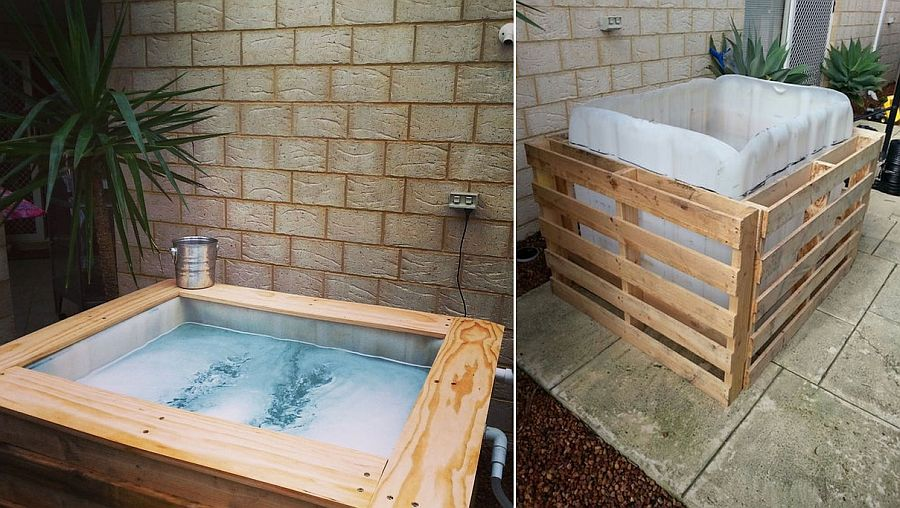 Wood pallet DIY hot tub with sauna feature