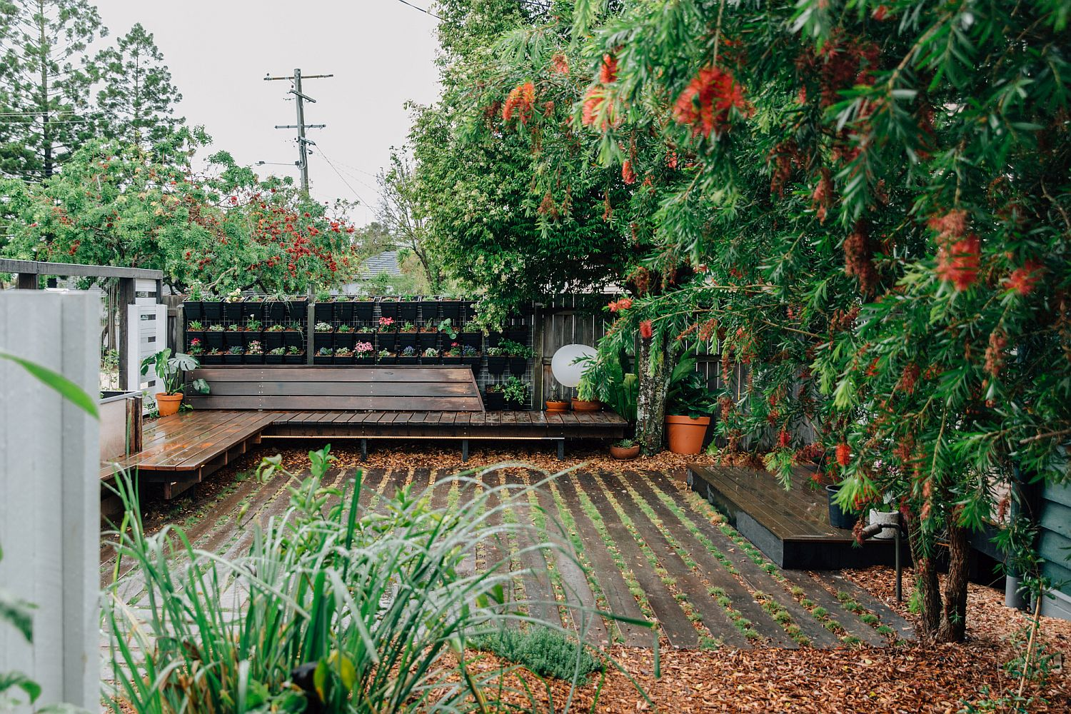 Wooden benches and walkways make a lovely yard