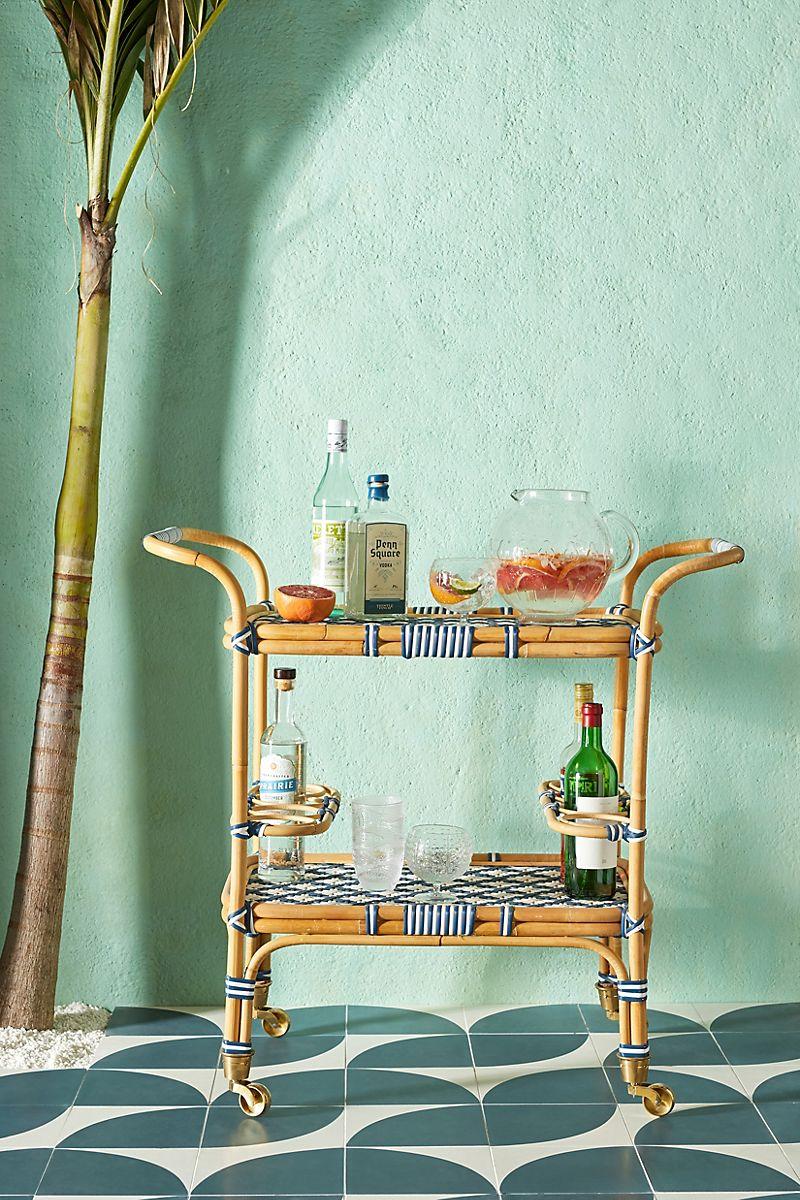 Woven bistro bar cart