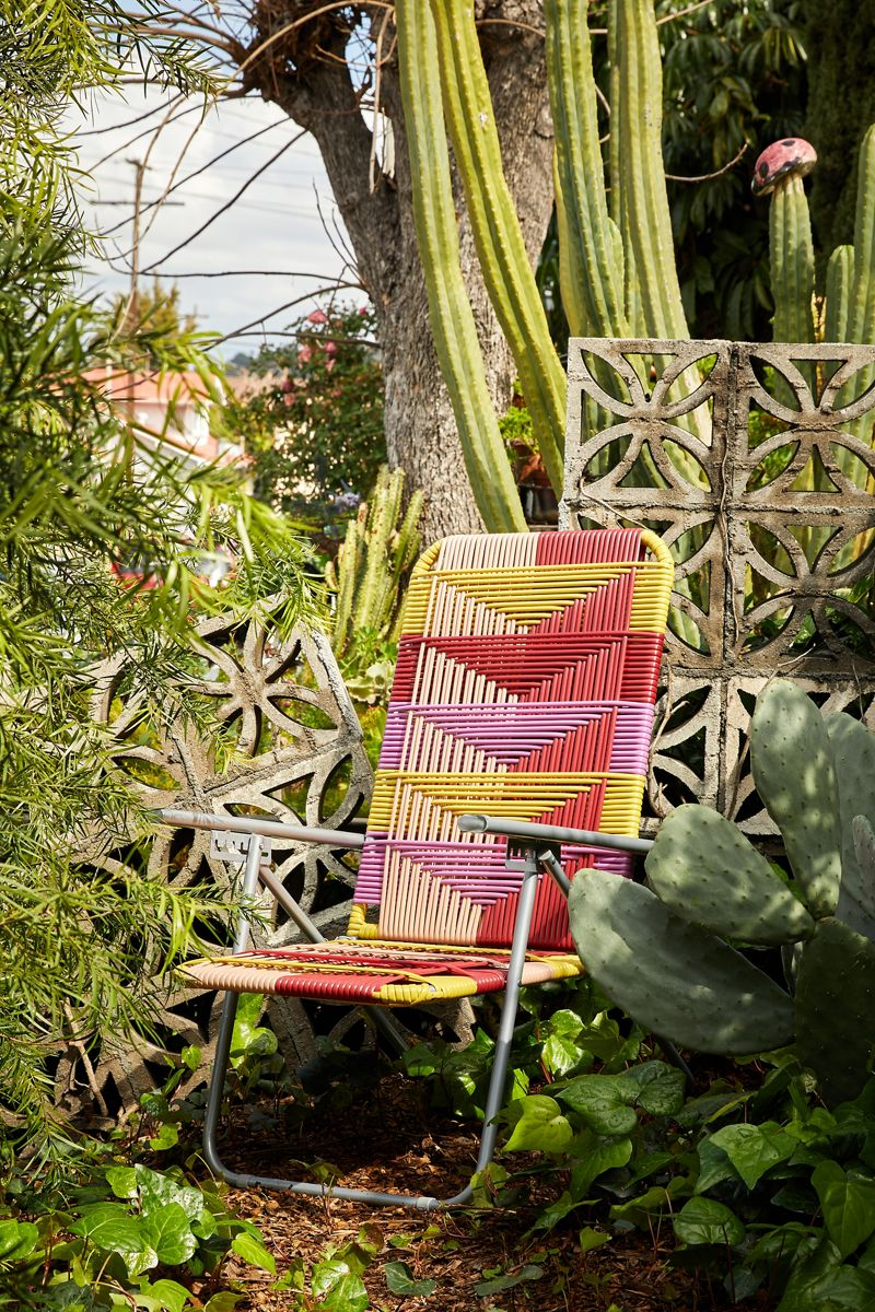 Woven outdoor chair in bright colors