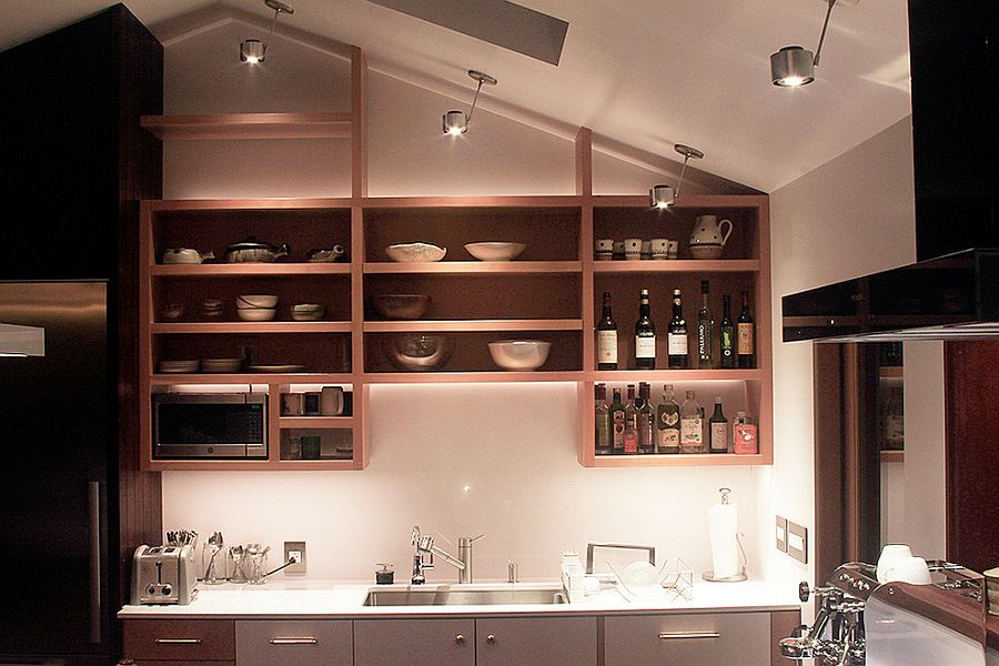 Adaptable shelf design ensures that the space above the countertop is utilized to the fullest