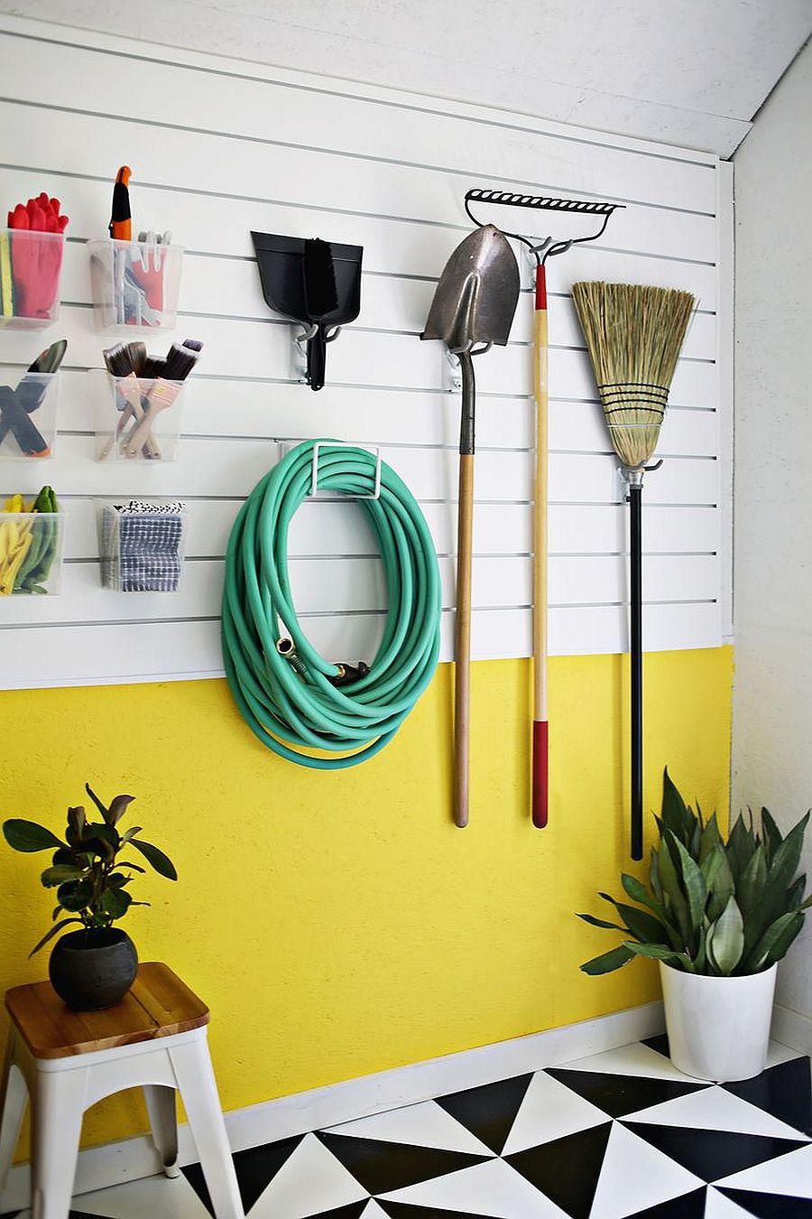 Add a bit of color to the garage organization wall