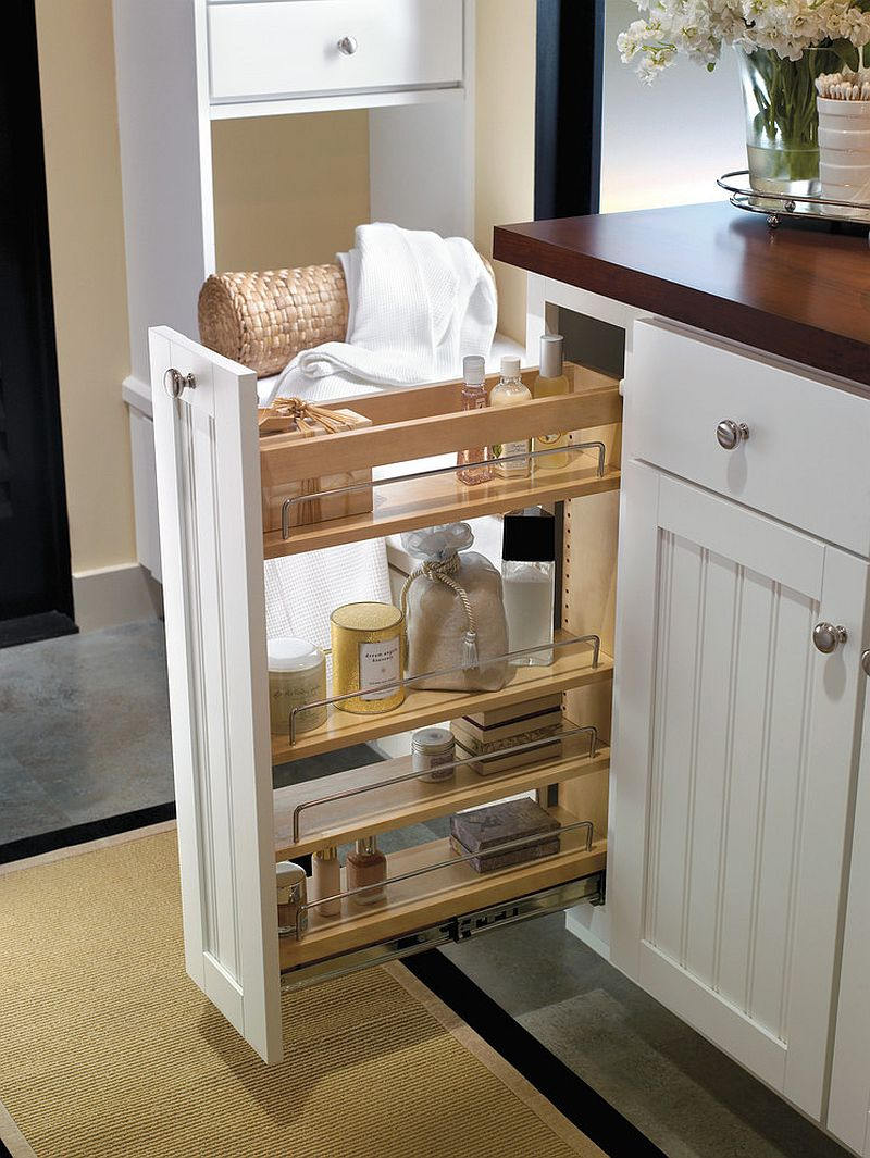 Adding a series of shelves and cabinets to improve storage options in the small kitchen