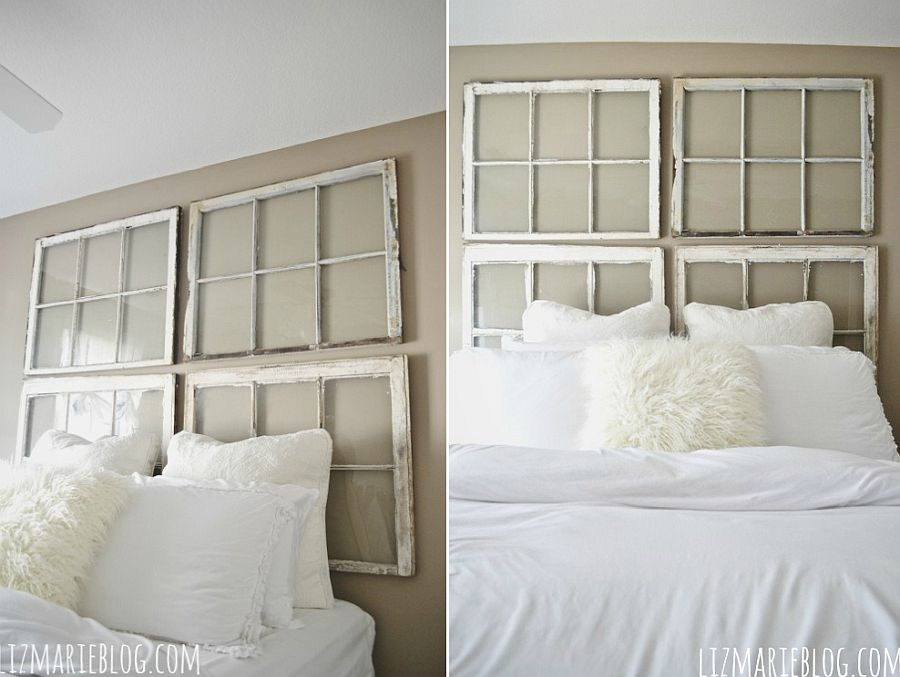Antique window DIY headboard for the shabby chic bedroom