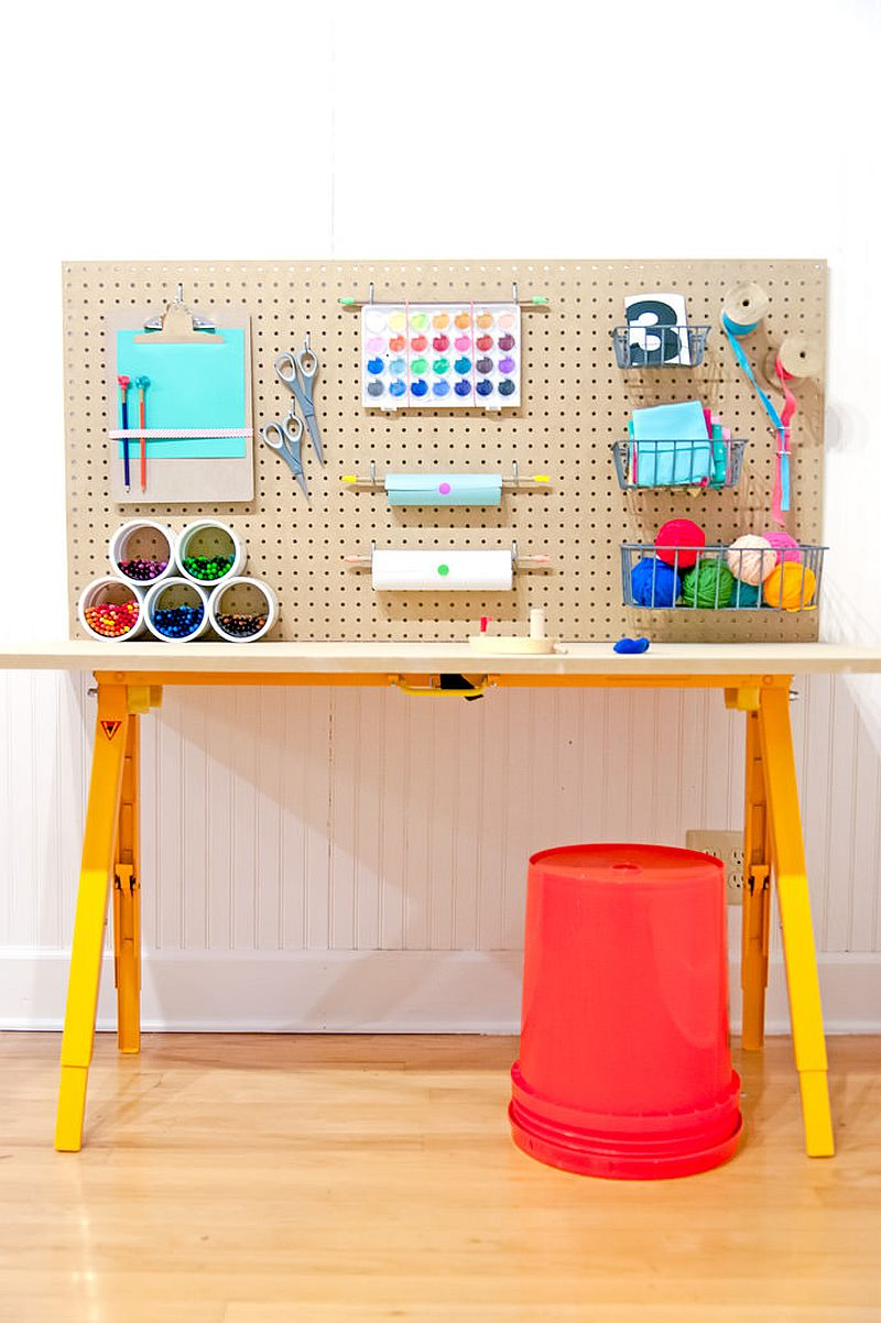 Awesome DIY crafting station can be used by kids and adults alike