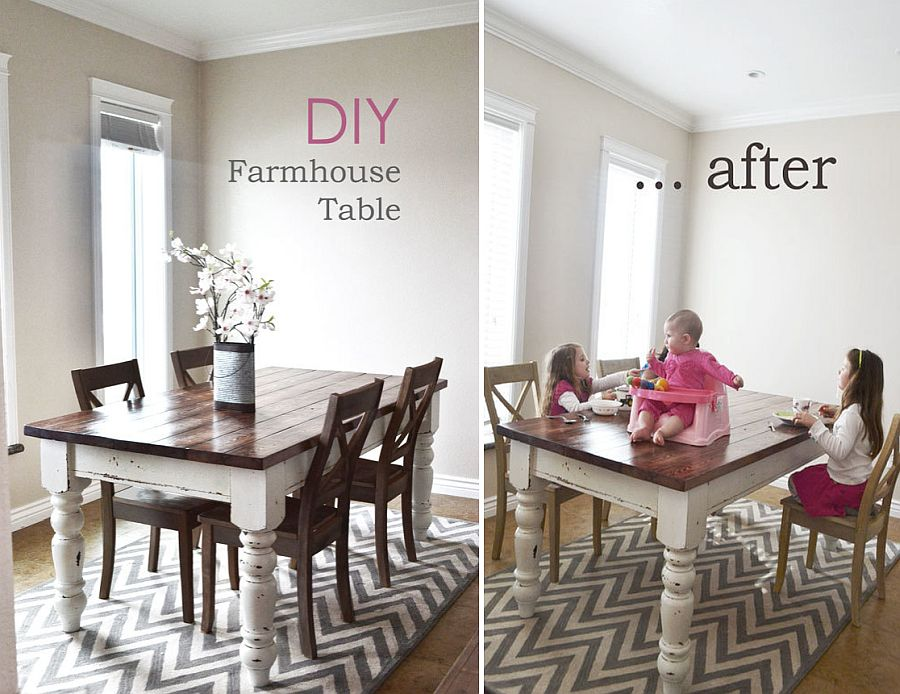 Awesome DIY farmhouse style dining table