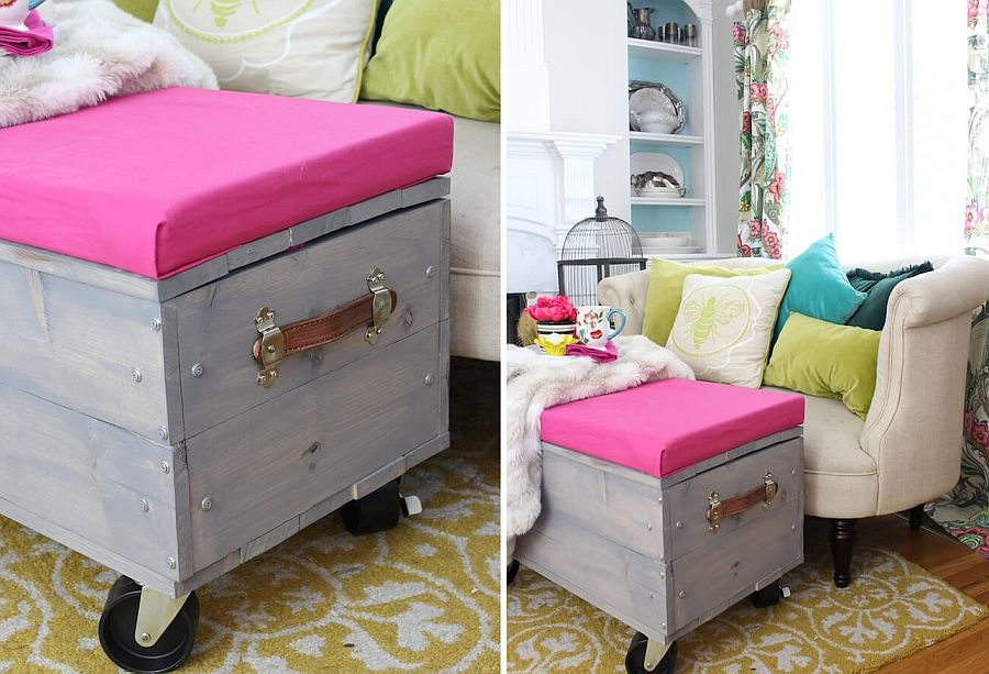 Awesome DIY ottoman on wheels with storage and a splash of pink