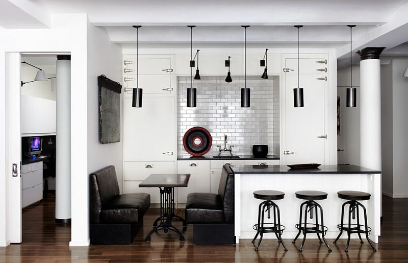 Balanced use of black and white in the small and stylish kitchen