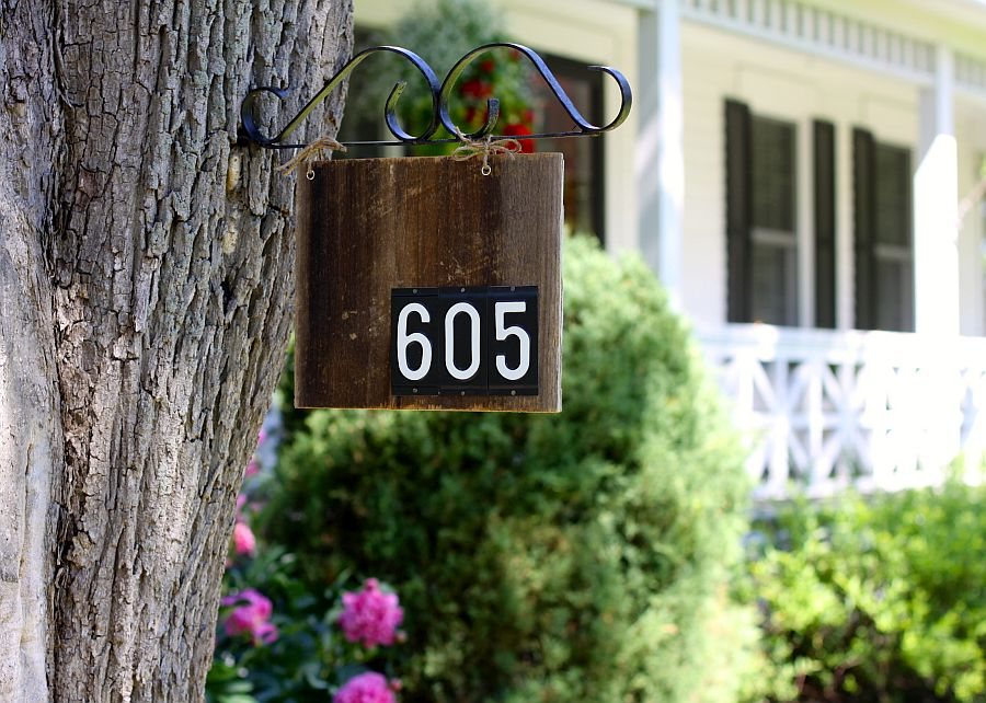 Barn wood house number sign DIY