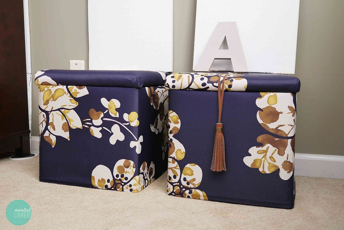 Bold purple DIY ottomans with storage and pattern