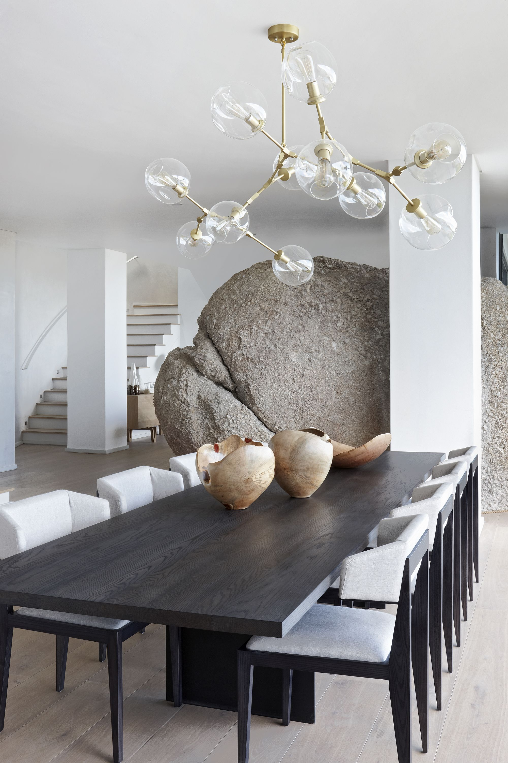 Boulder becomes a part of the modern minimal interior