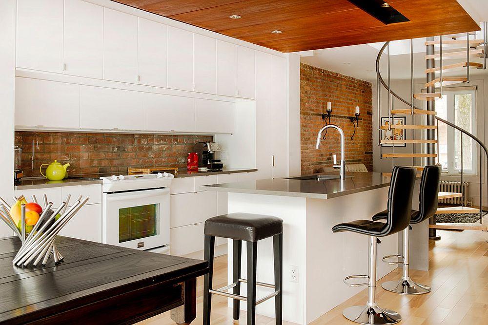 Brick backsplash for thr modern kitchen in white