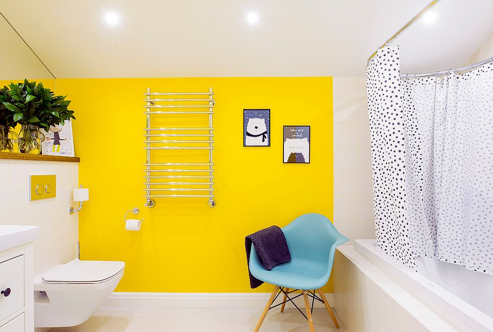 Bright-yellow-accent-wall-for-the-contemporary-bathroom-in-white