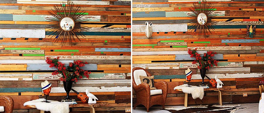 Brilliant salvaged wood accent wall DIY idea