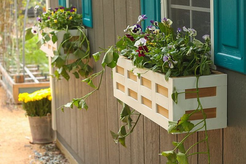 Charming DIY wooden flower box by the window is a showstopper