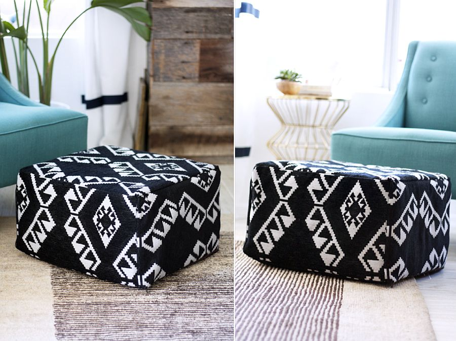 Chic DIY Pouf adds geo pattern to the home with ease