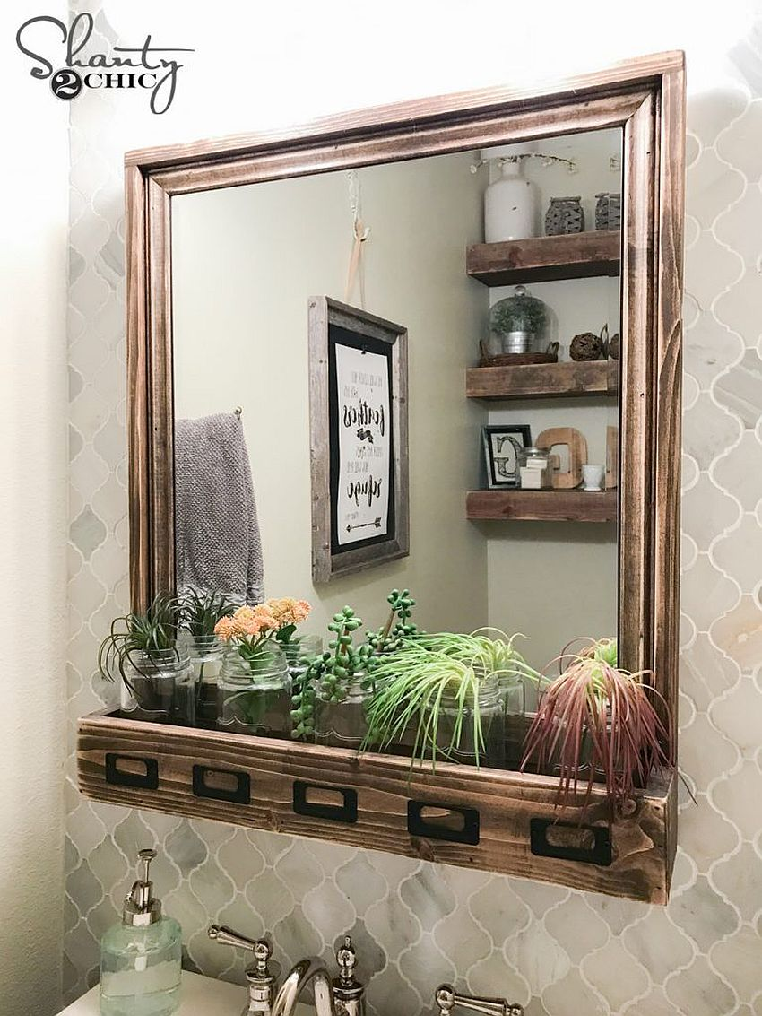 Chic DIY farmhouse style mirror with storage options