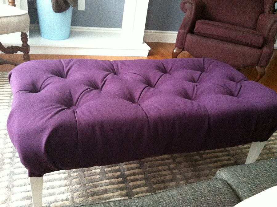 Chic purple DIY Ottoman idea for contemporary home