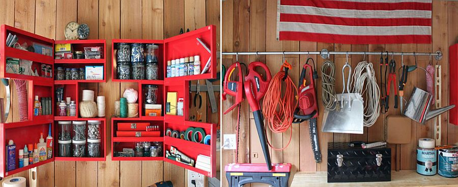 Clever-use-of-open-medicine-cabinets-in-red-for-the-garage-along-with-a-plumbing-pipe