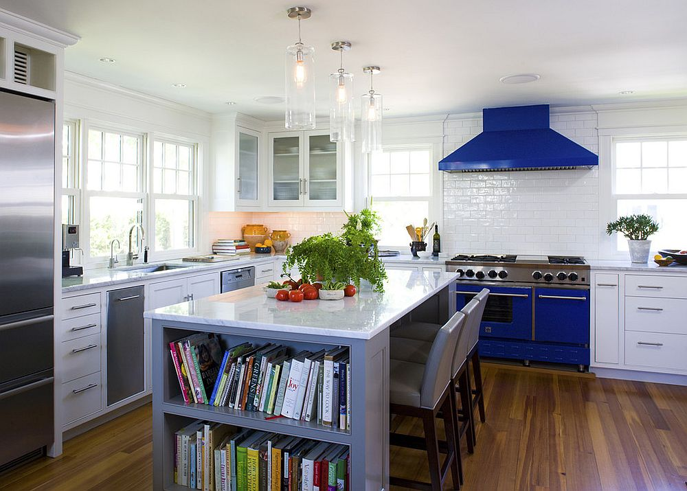 Colorful appliances and range bring blue to this kitchen