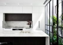 Contemporary-kitchen-in-black-and-white-with-framed-glass-walls-217x155