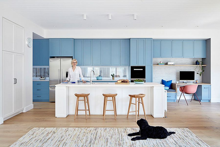 Contemporary kitchen in white blue cabinets in the backdrop