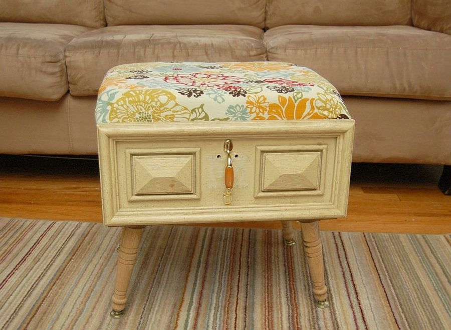 Cool DIY Ottoman with a Drawer is a showstopper with vintage charm