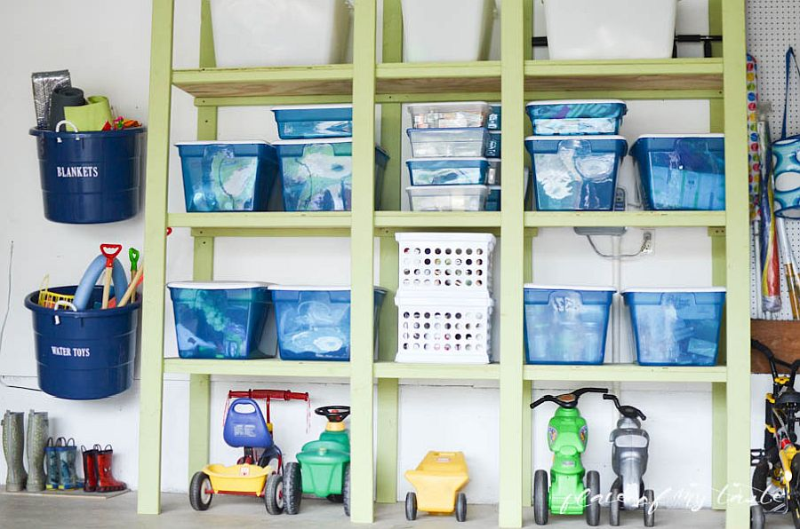 Create a custom garage storage wall using shelves, bins and baskets!