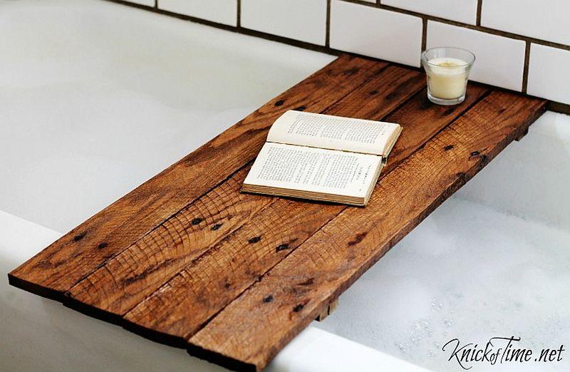 Custom DIY wooden table for the bathtub