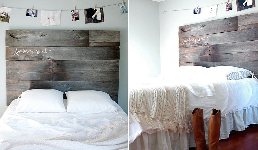 Custom-crafted DIY headboard made from reclaimed wood