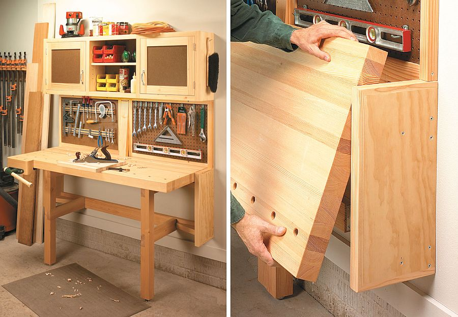 Custom fold-down garage workstation in wood is an absolute showstopper