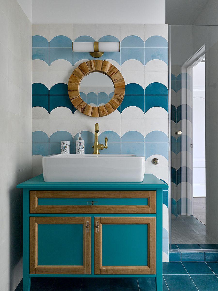 Custom-teal-vanity-for-the-contemporary-bathroom