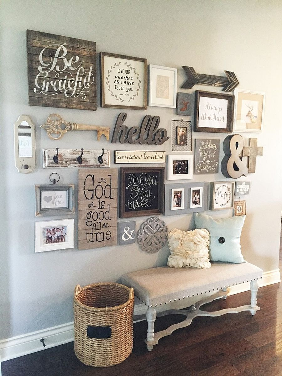 DIY entryway gallery wall with farmhouse chic appeal
