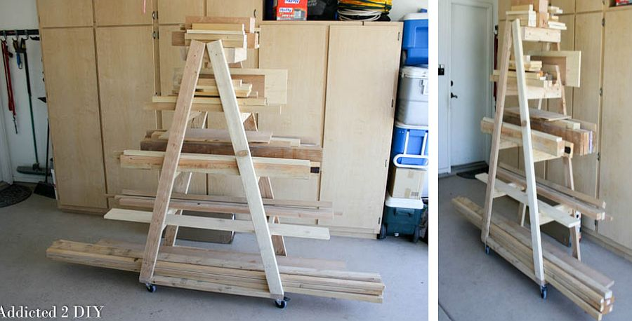 DIY mobile lumber rack idea