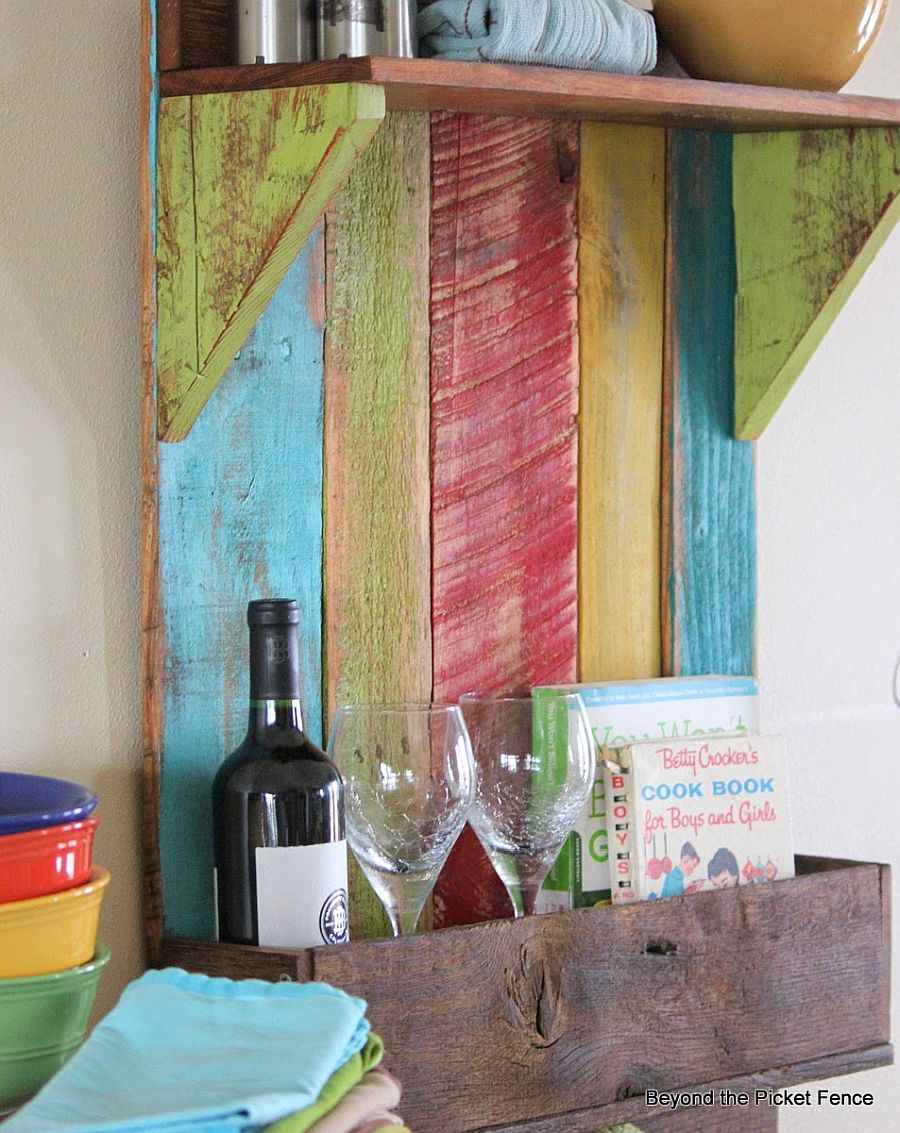 DIY reclaimed wooden shelves with a hint of color