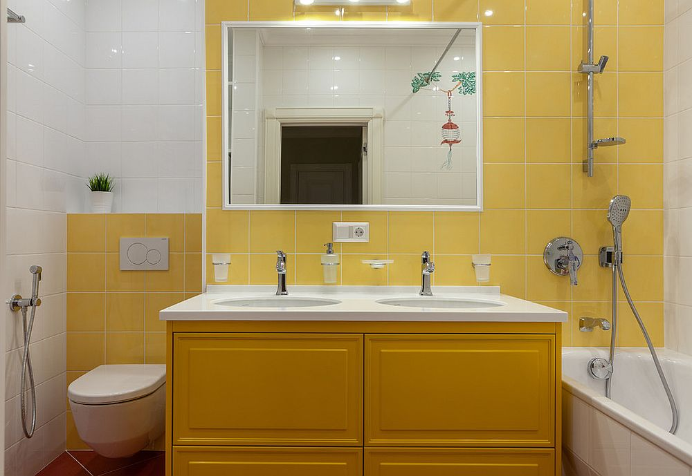 Dark-yellow-for-the-vanity-stands-stunningly-next-to-the-light-yellow-backdrop