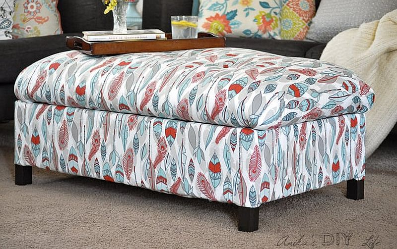 Dashing and colorful DIY upholstered ottoman with storage