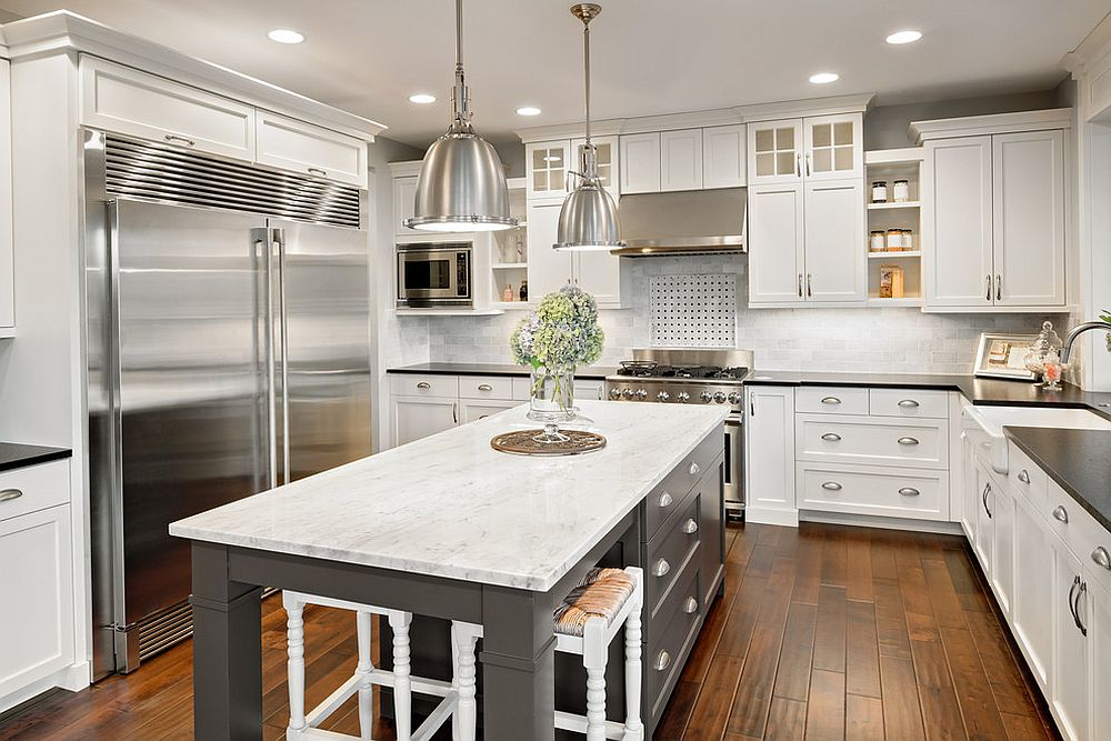 Dashing kitchen island with drawers gives the kitchen a gray makeover
