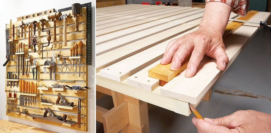 Easy-to-craft hold-everything tool rack in wood