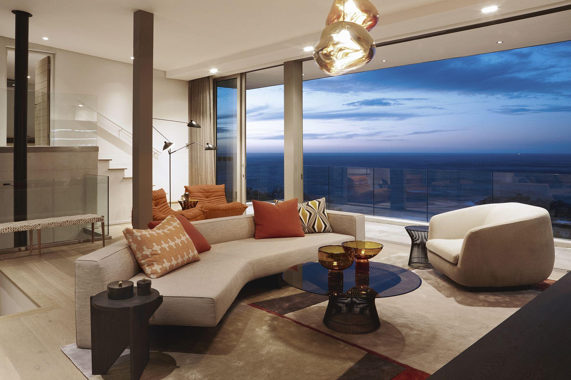 Exquisite living area with ocean views
